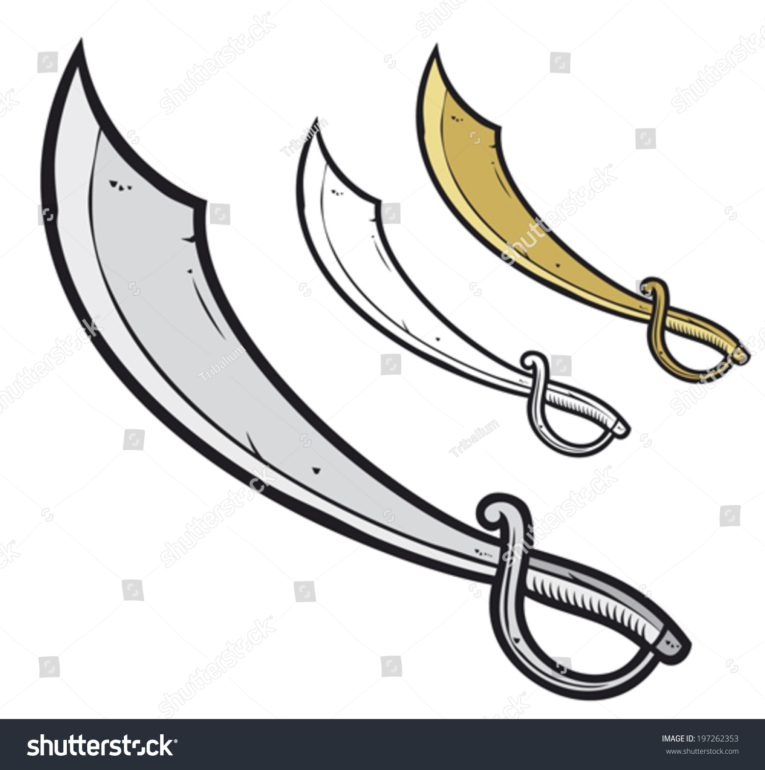 Pirate Sabre Sword Stock Vector 197262353 - Shutterstock