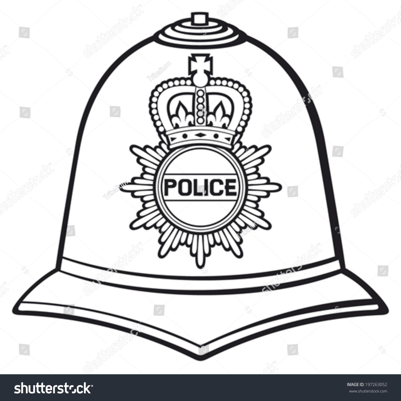British Police Helmet Bobby Hat Stock Vector 197263052 - Shutterstock