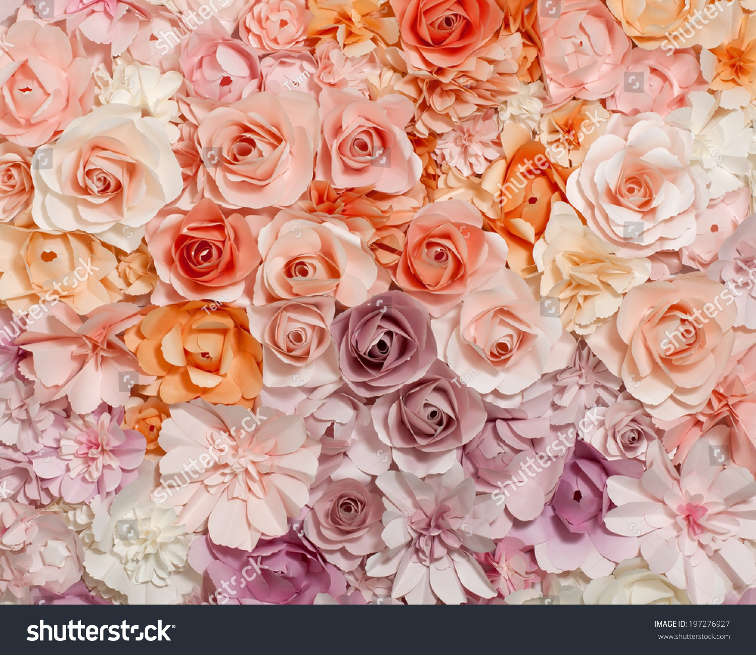 Colorful Flowers Paper Background Pattern Lovely Stock Photo