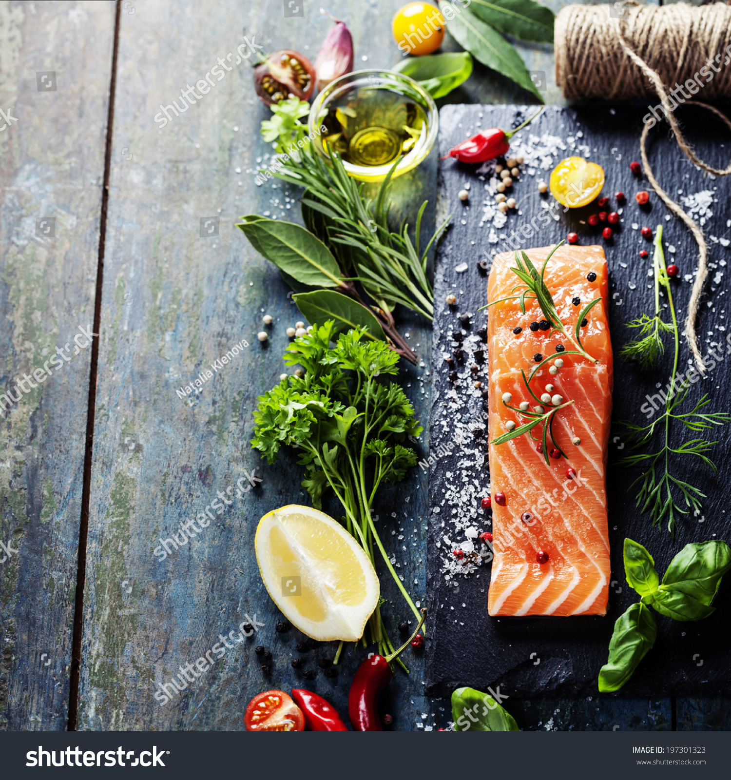 Delicious portion fresh salmon fillet aromatic stock photo for Aromatic herb for fish