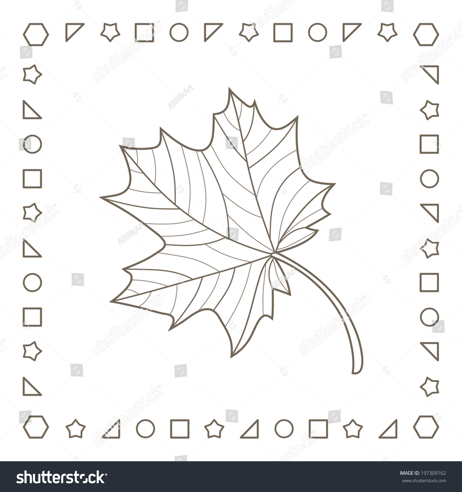 Maple Leaf Coloring Page Coloring Book Stock Illustration 197309162 ...