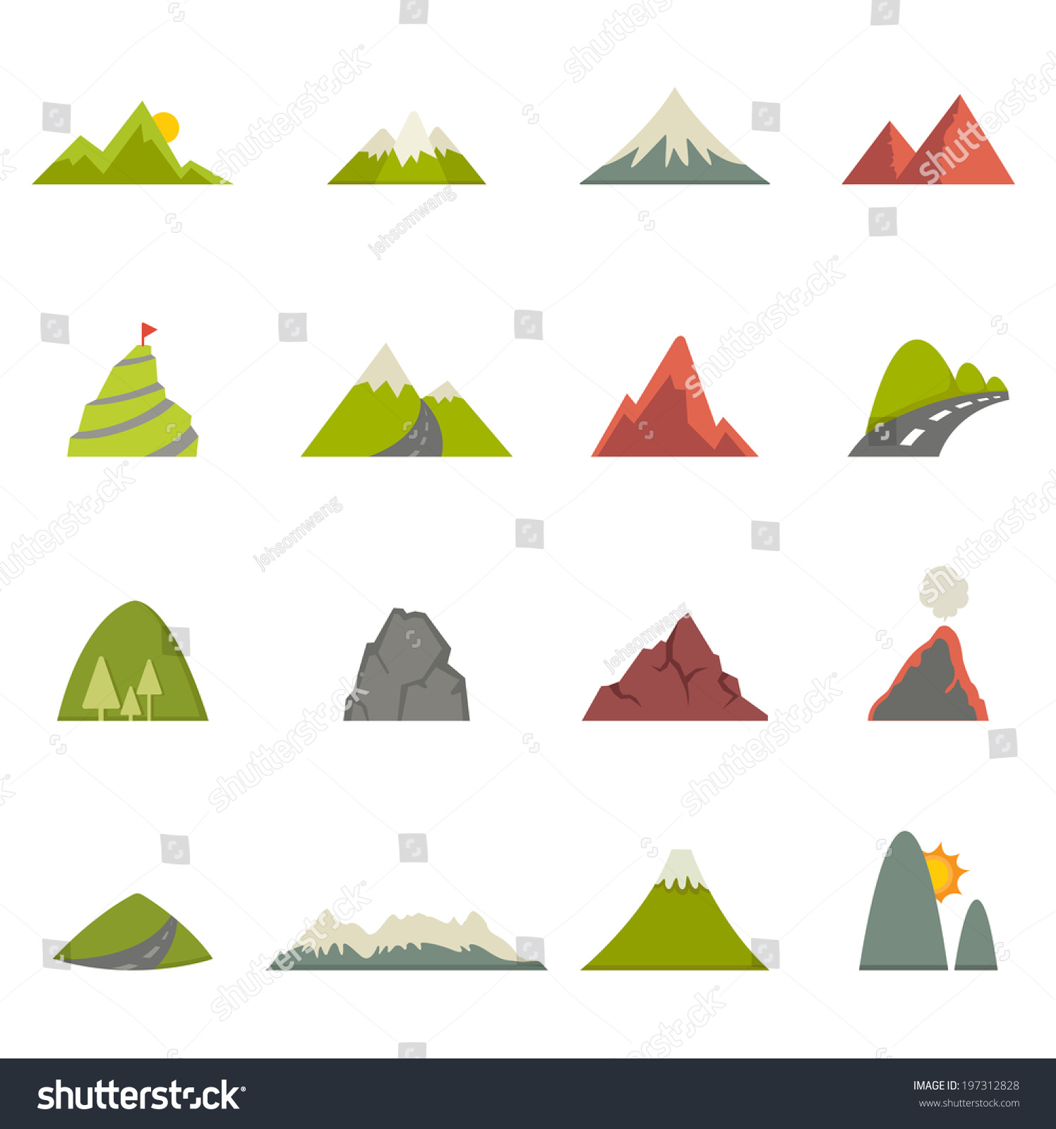 Mountain Icons Vector Eps10 Stock Vector 197312828 ...