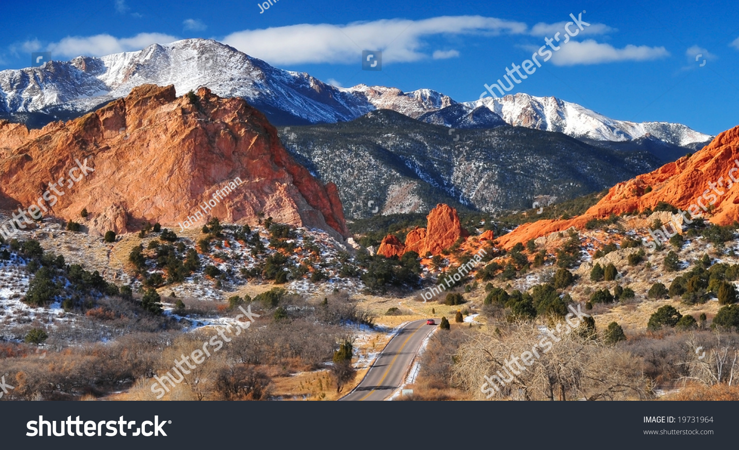 Pike Nursery Near Me: Pikes Peak Soaring Over Garden Gods Stock Photo 19731964