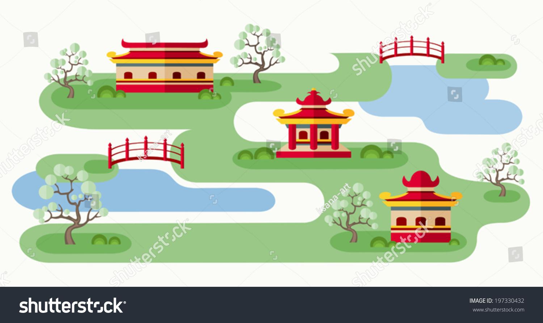 Somewhere Japan Cartoon Illustration Tranquil Japanese Stock - Japan map cartoon