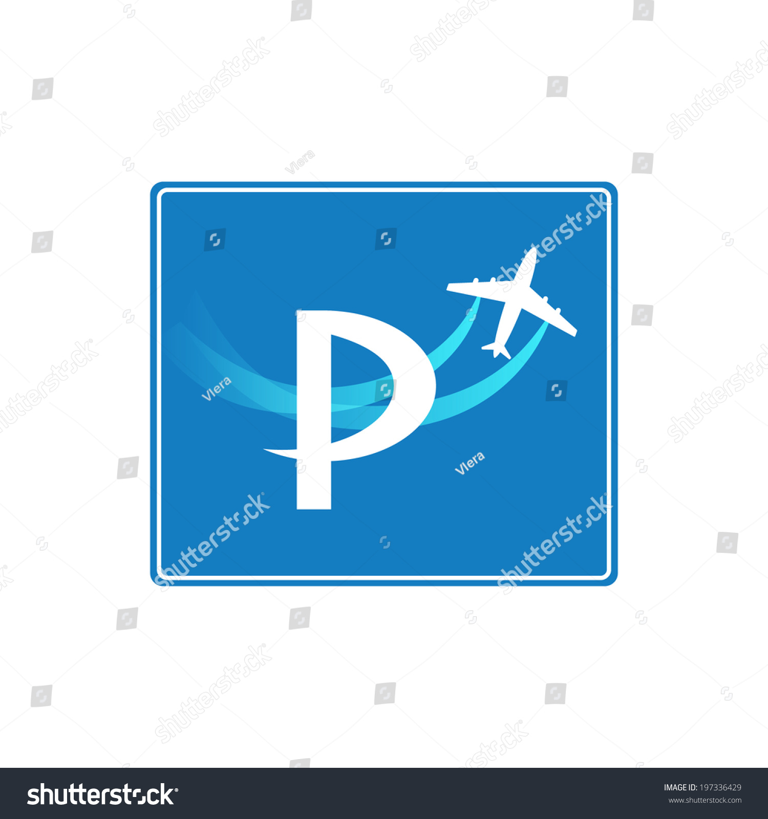 Parking Icon Blue White Colors On Stock Vector Royalty Free
