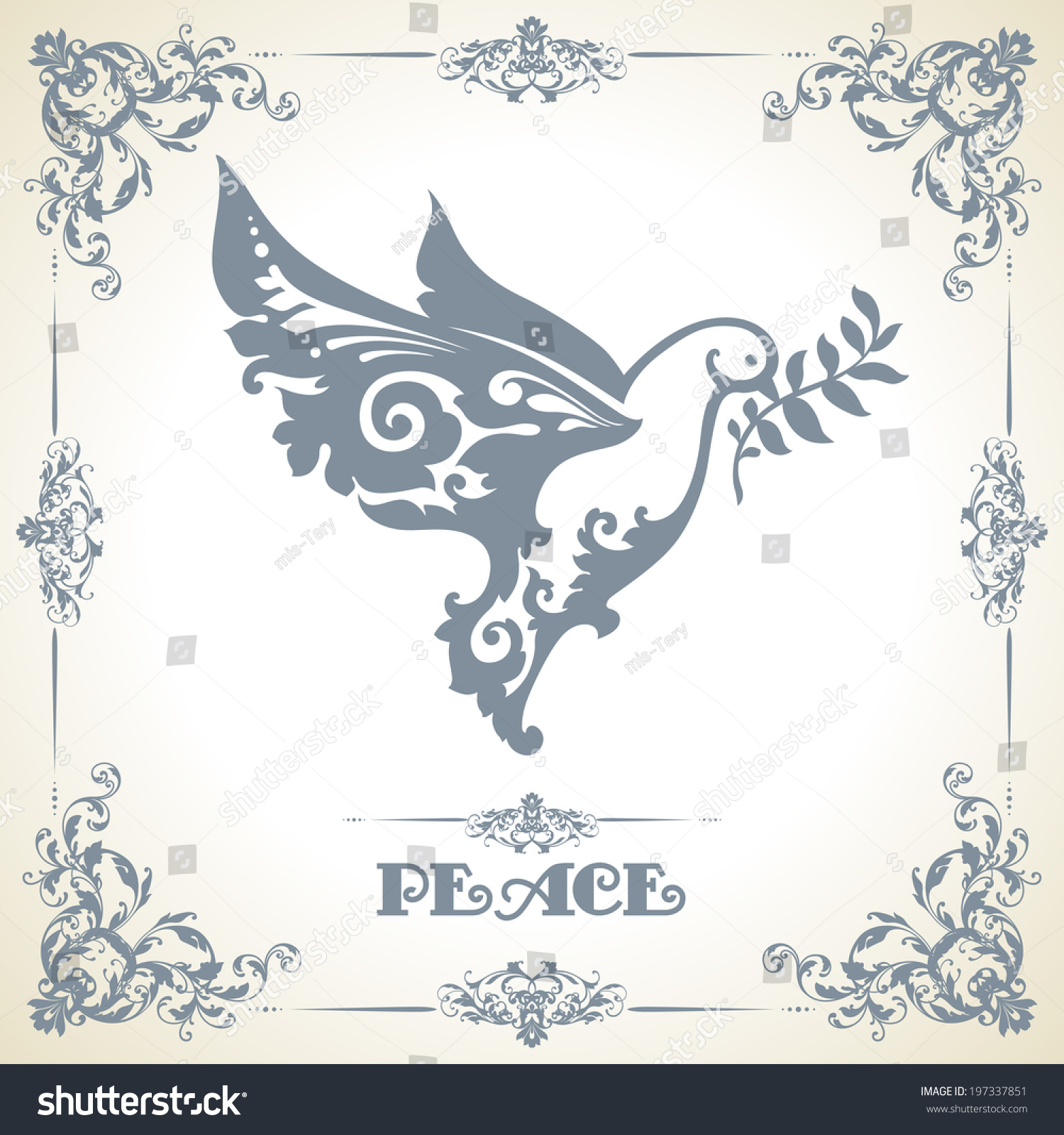 Vintage Template Decorative Frame Ornamental Dove Stock Vector ...