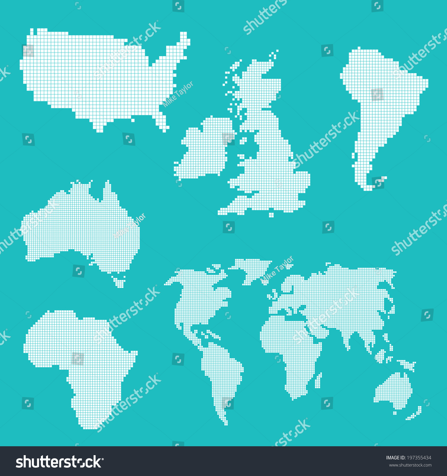 world map various countries continents vector stock vector