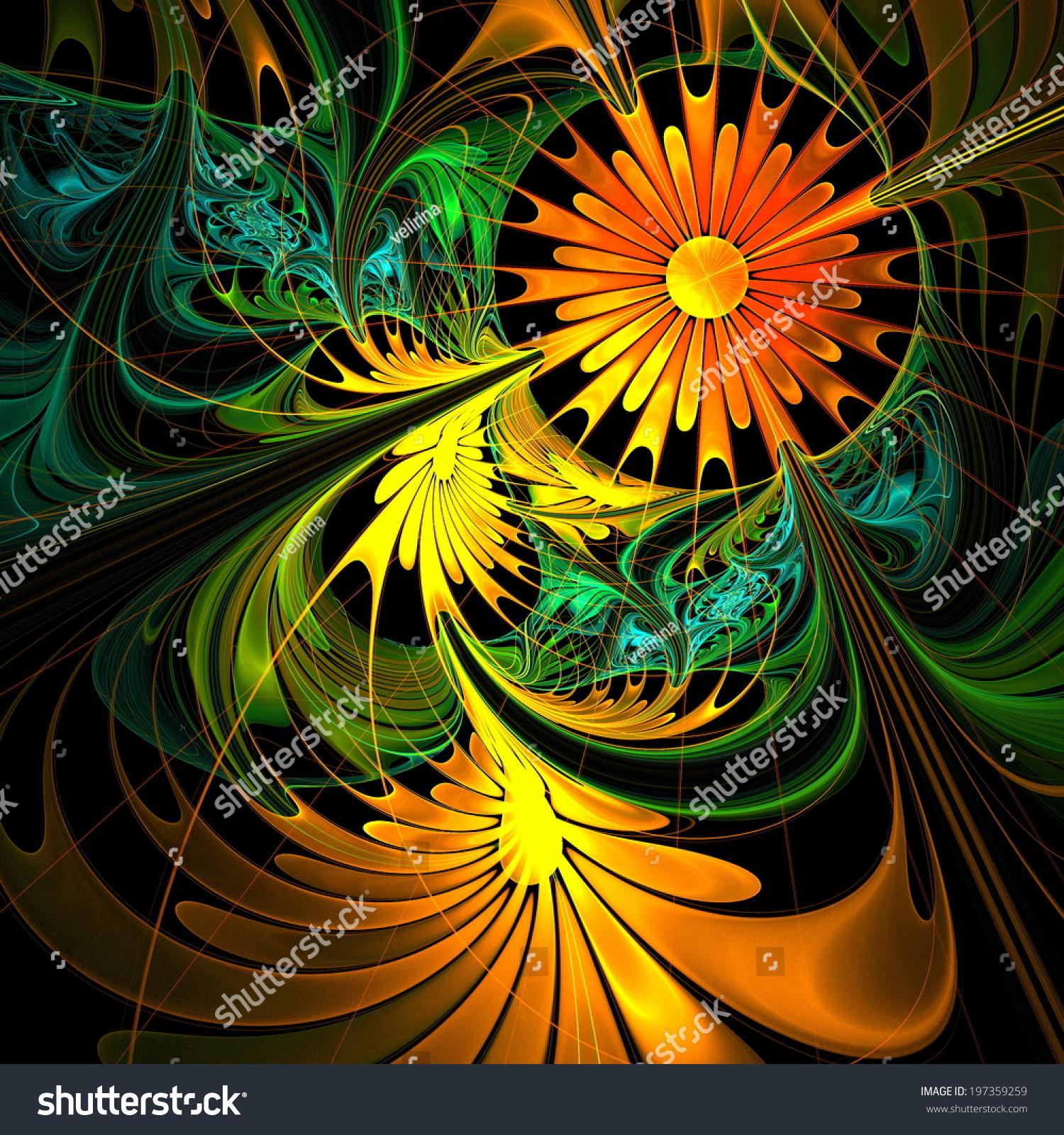 Fractal Black Flower Free Stock Photo: Flower Background Orange Green Palette Fractal Stock