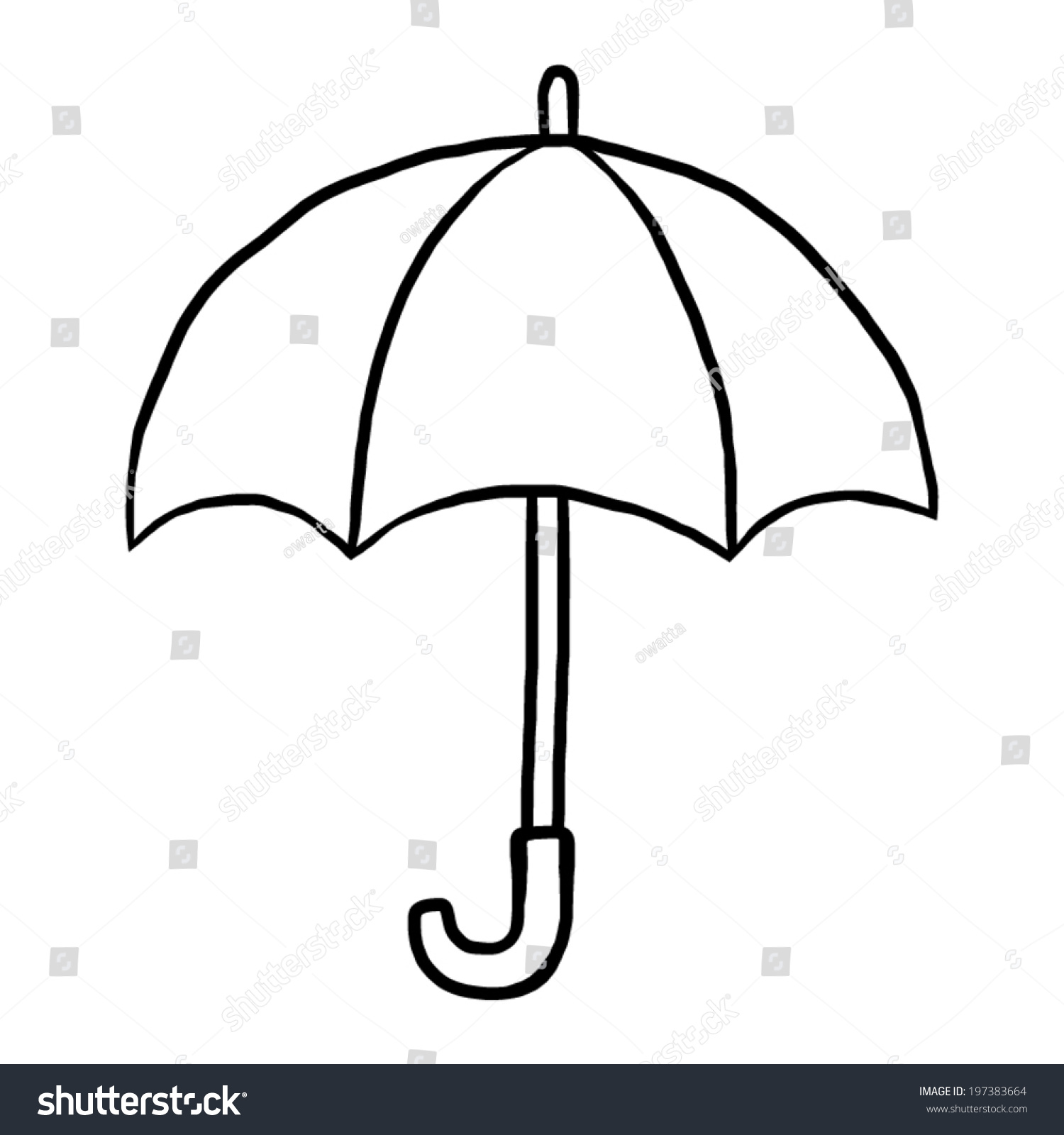 umbrella cartoon vector illustration black white stock vector
