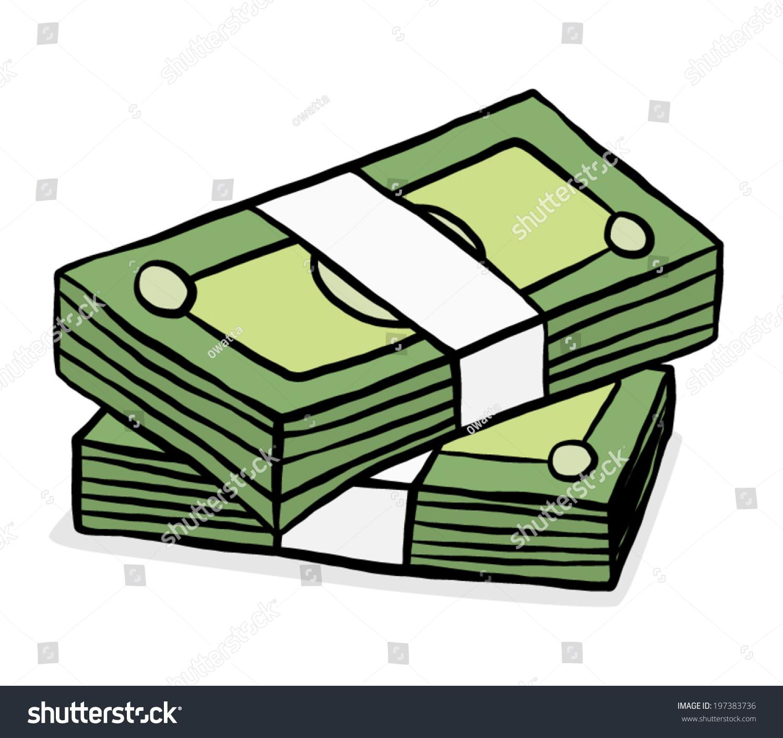 Two Stack Green Bank Notes Cartoon Stock Vector 197383736