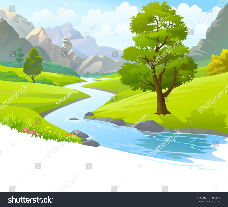 flowing river cartoon - photo #12