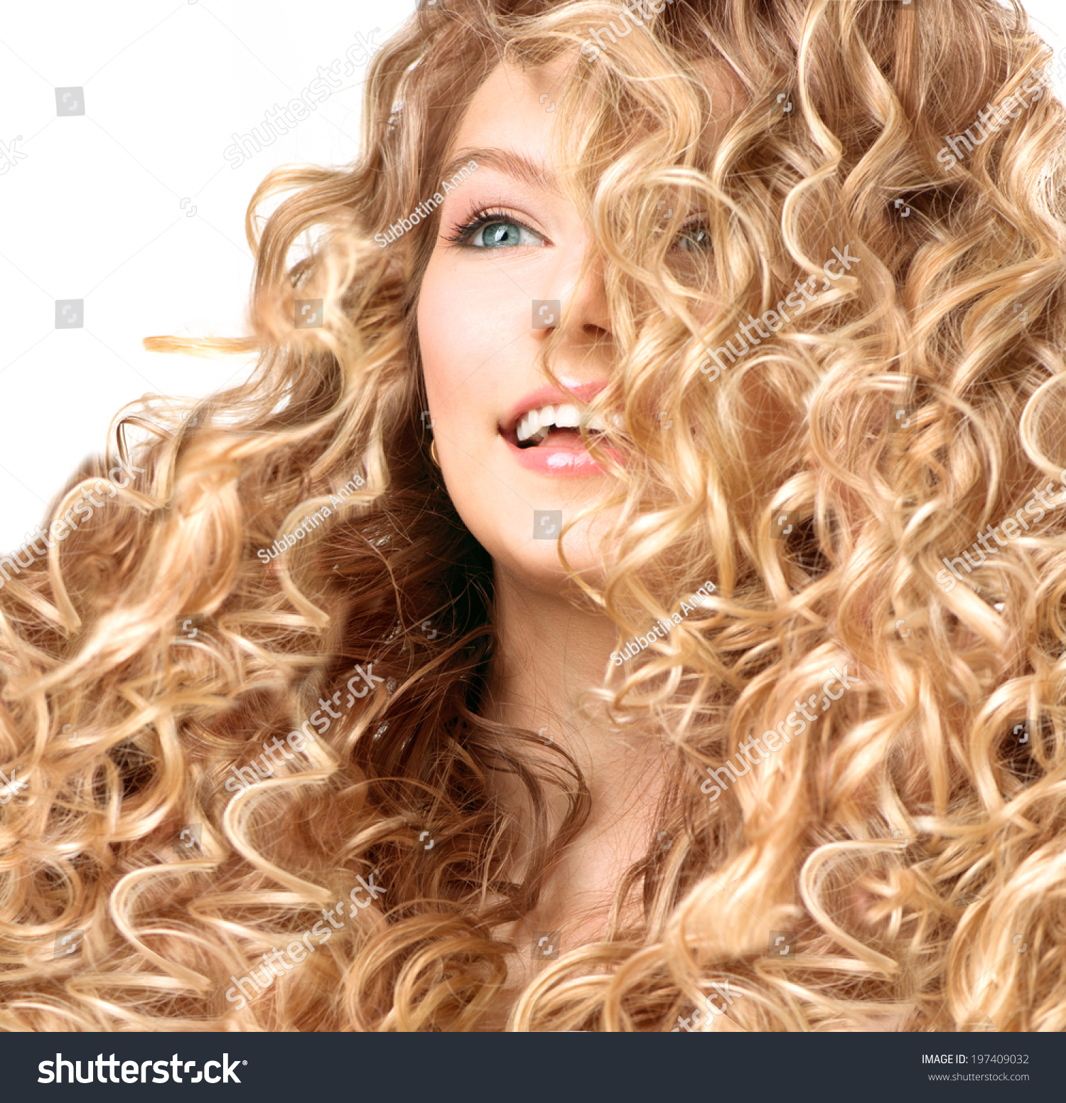 Beauty Girl With Blonde Curly Hair. Healthy And Long Permed Blond ...