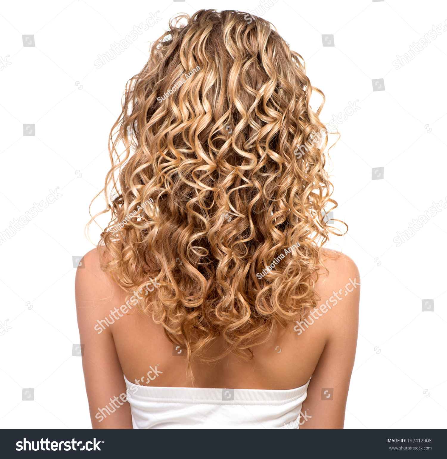 Beauty Girl Blonde Curly Hair Healthy Stock Photo
