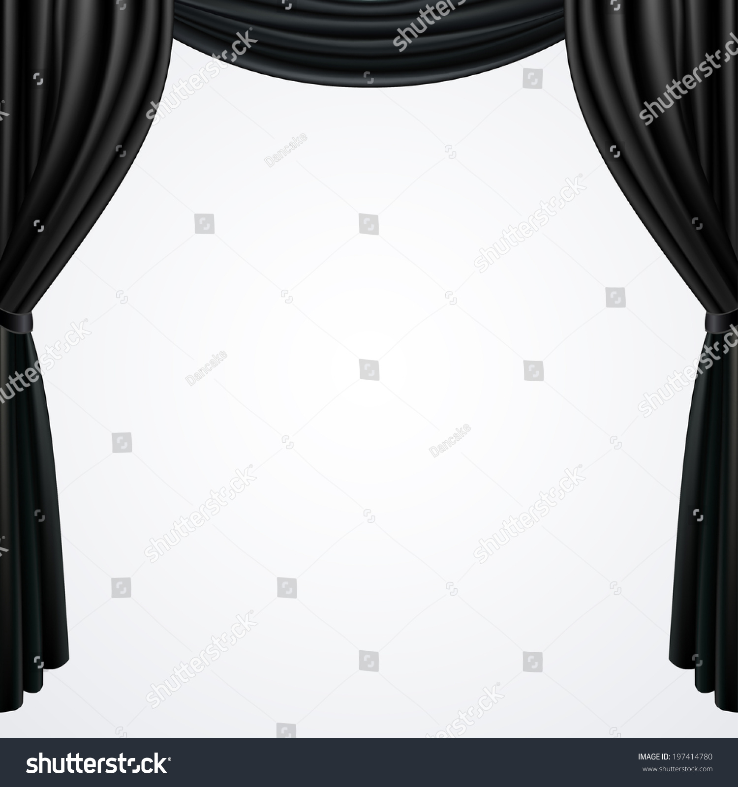 Black and white stage curtain - Black Curtains Drapes Isolated On White Background Vector Illustration