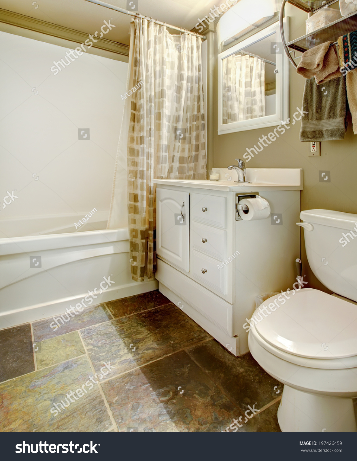 White Brown Bathroom Tile Floor White Stock Photo (Edit Now ...