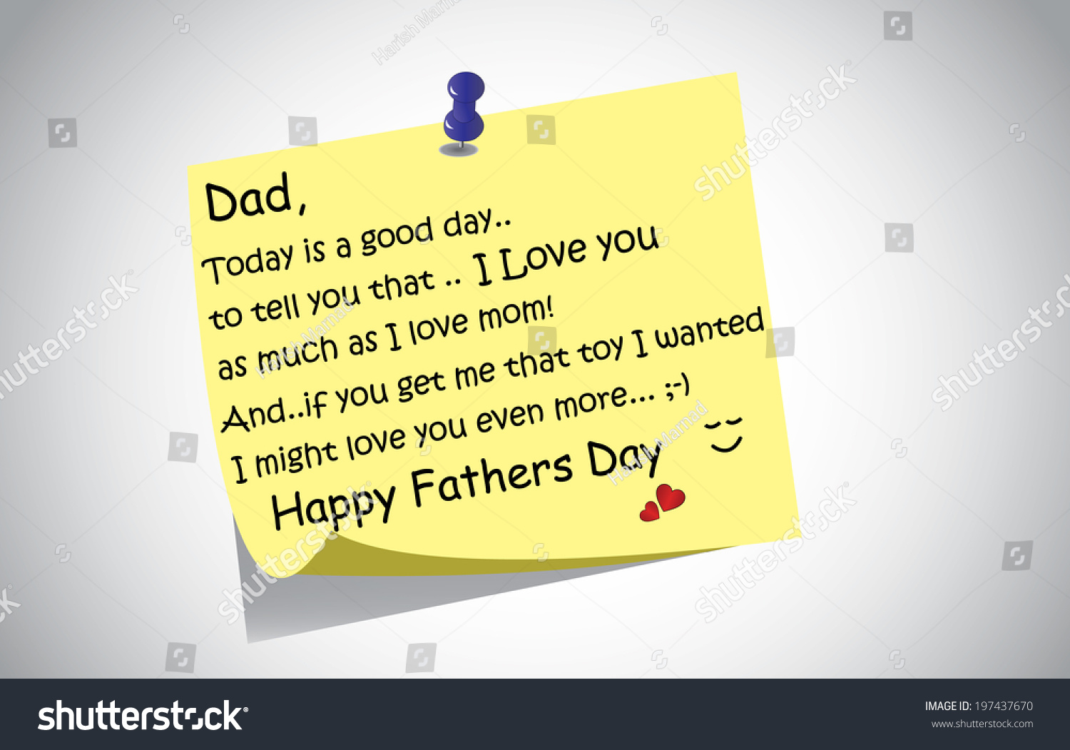 Unique happy fathers day post note stock vector royalty free unique happy fathers day post it note text greetings concept a touching and lovely fathers m4hsunfo
