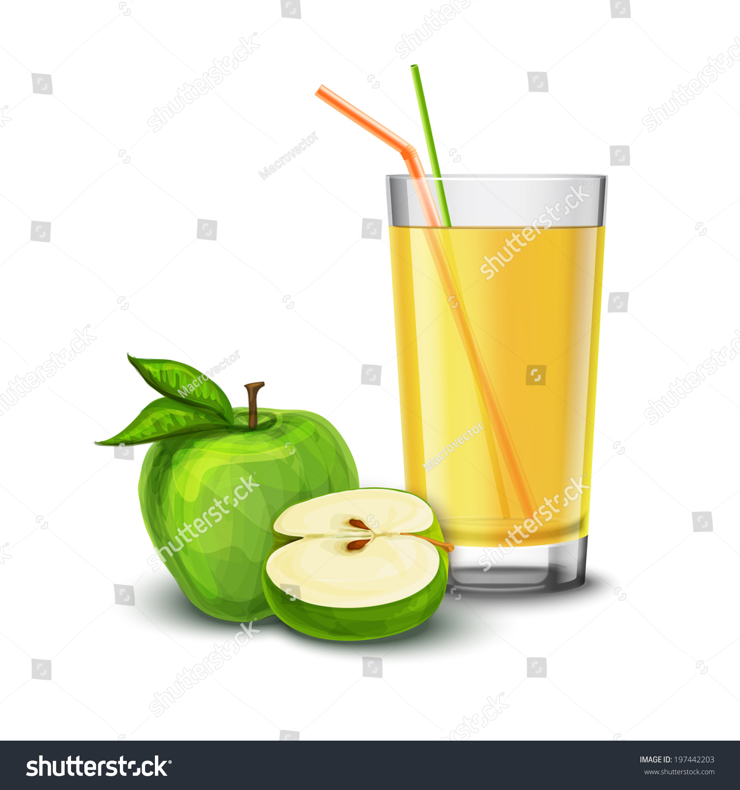 Realistic Glass Full Juice Drink Cocktail Stock Vector (Royalty Free