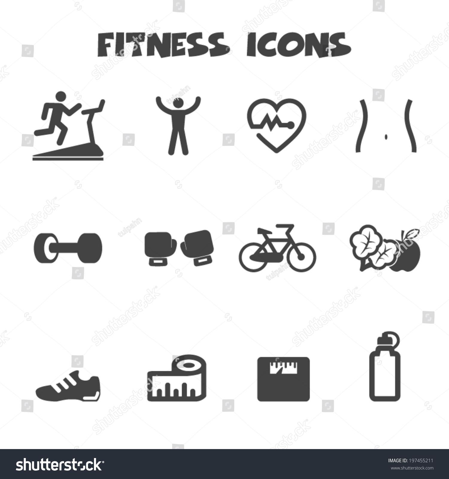 Fitness Icons, Mono Vector Symbols - 197455211 : Shutterstock