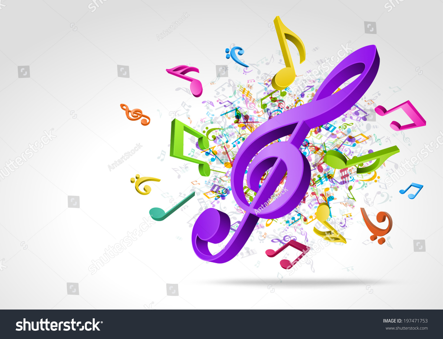 3d Colorful Music Notes Wallpaper: Colorful 3d Music Notes Vector Background Stock Vector