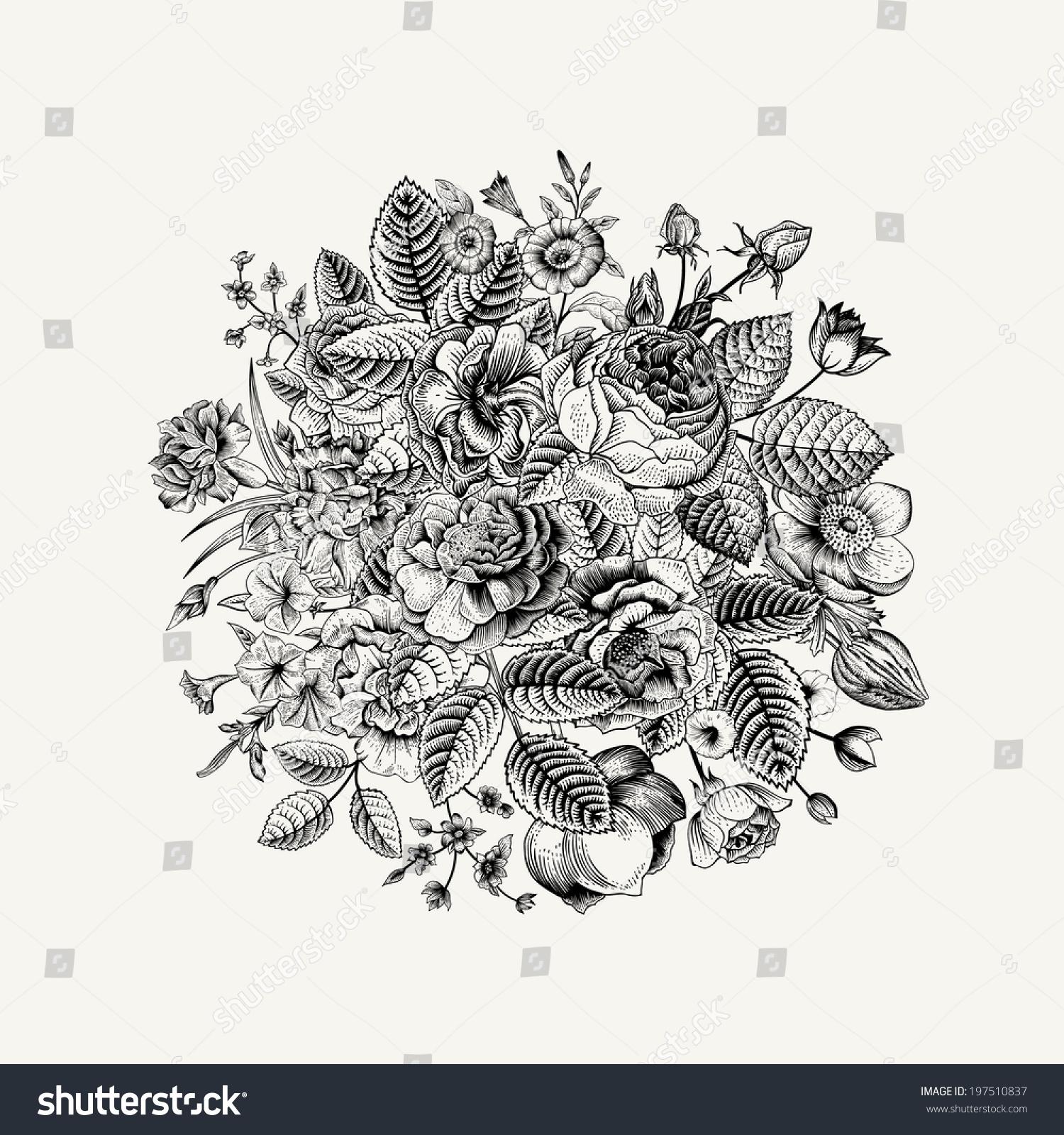 Vintage Floral Vector Bouquet Black White Stock Vector 197510837