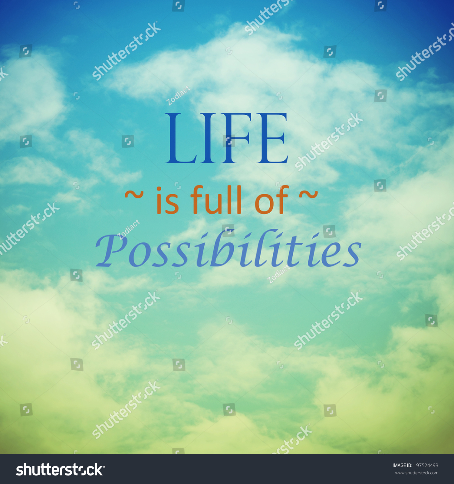 Live Full Possibilities Sky Clouds Vintage Stock Photo Edit Now