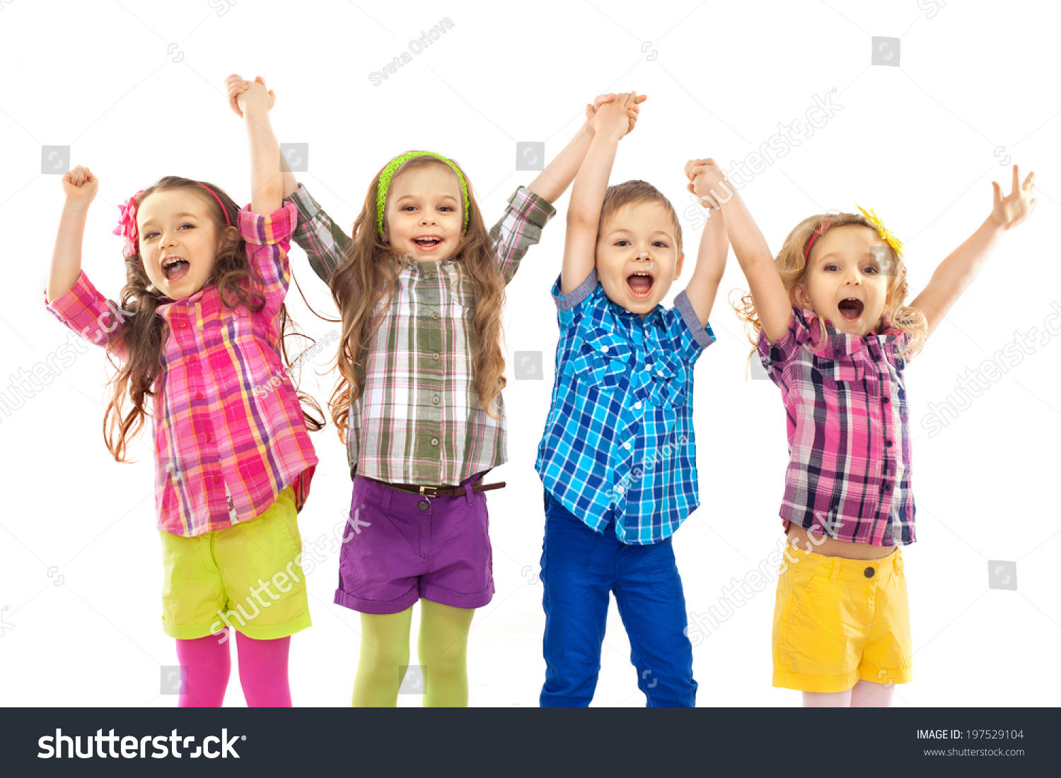 Cute happy kids are jumping together isolated white background