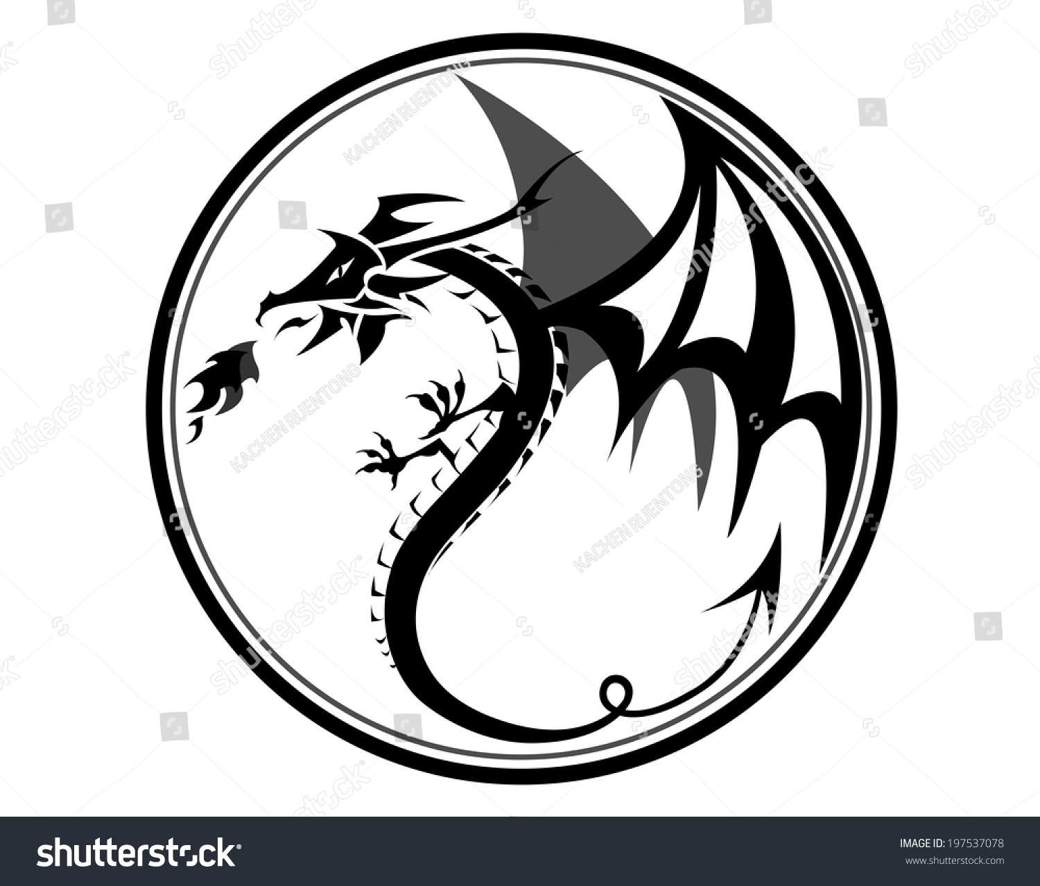 Black Dragon In Circlector Draw By Illustrator