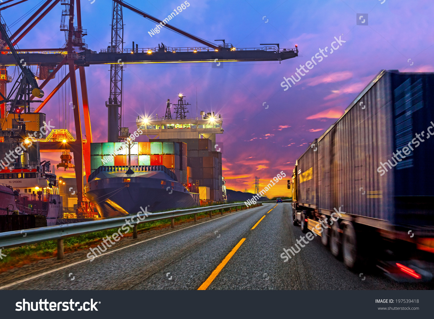Truck Transport Container On The Road To The Port. Stock ...