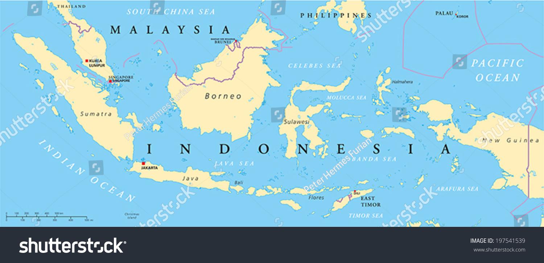 Malaysia Indonesia Political Map Capitals Kuala Stock ...