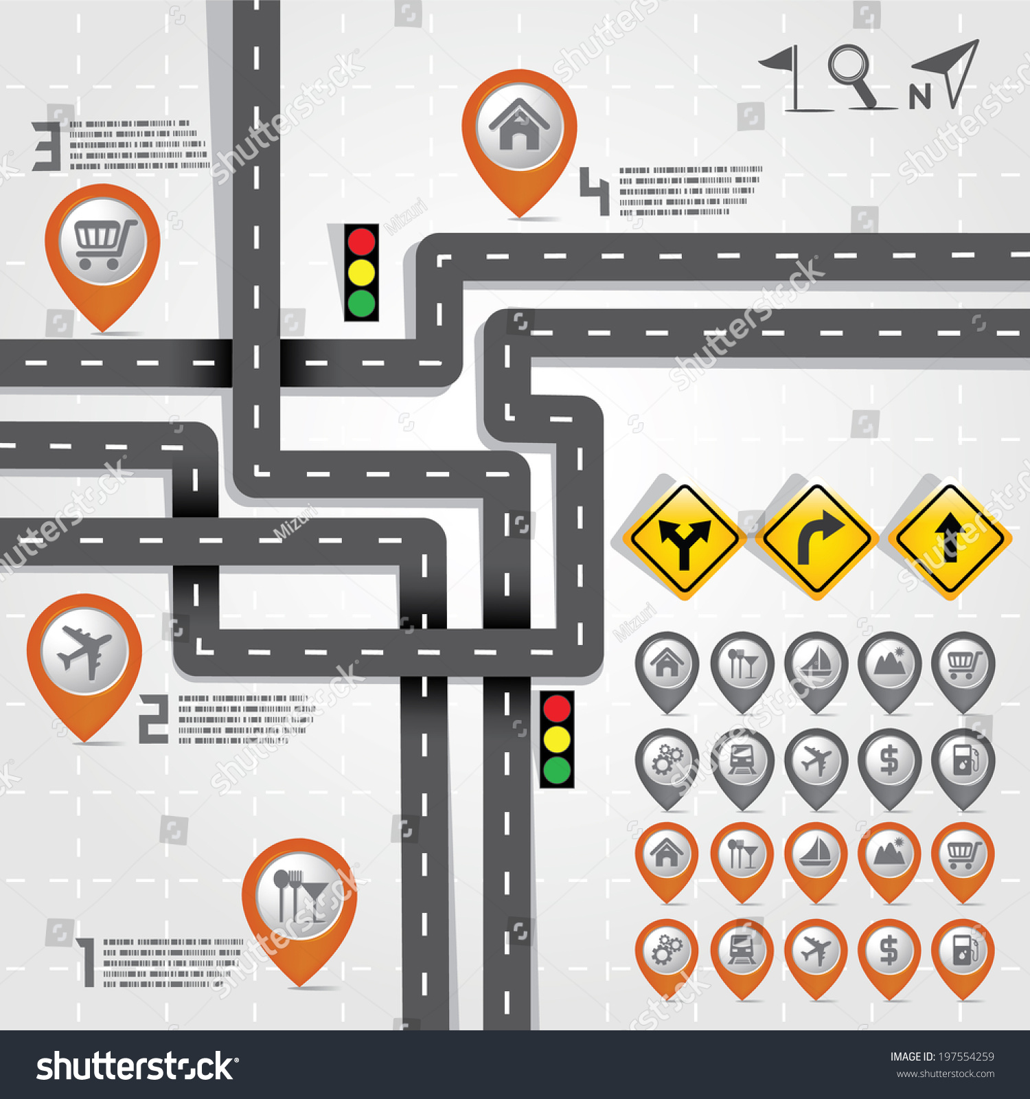 Design Road and Street With Map Pointer Marker Icon Set Travel – Travel Marker Map