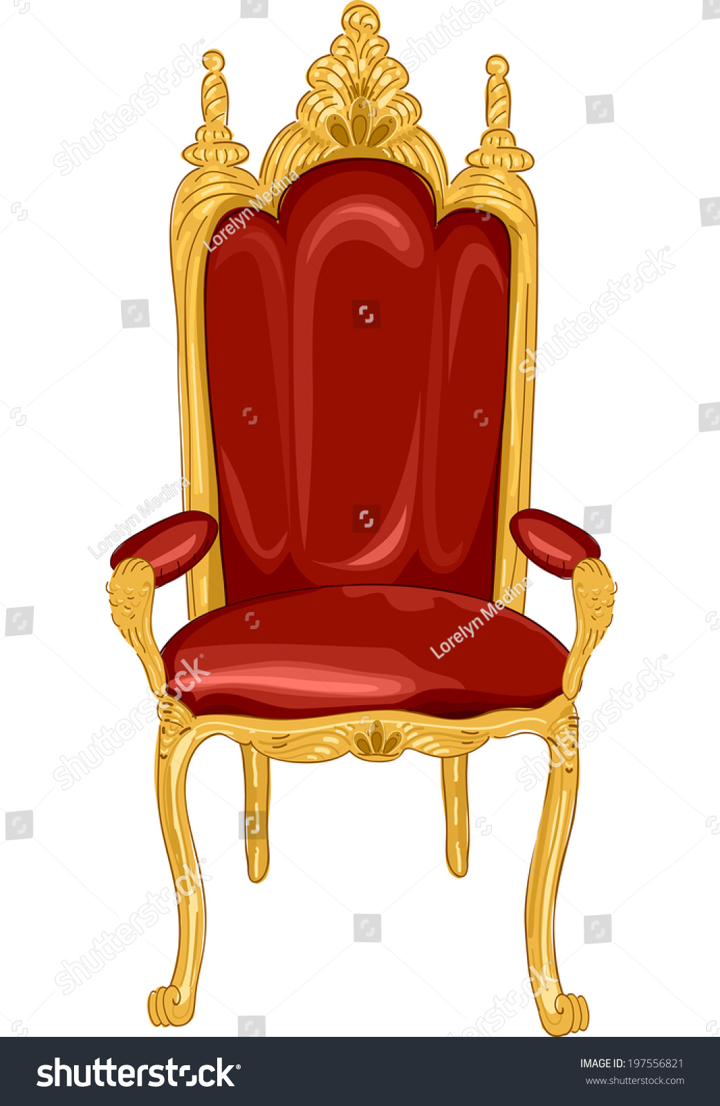 Illustration featuring royal chair red gold stock vector for Throne chair plans