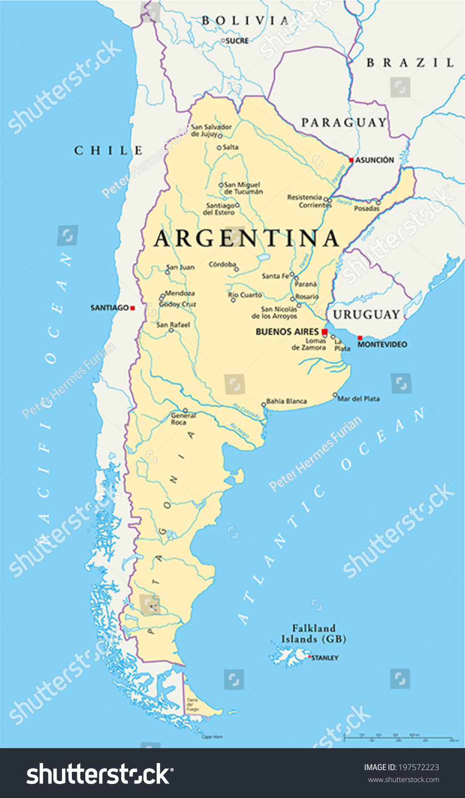 Argentina Political Map Capital Buenos Aires Stock Vector - Argentina cities map