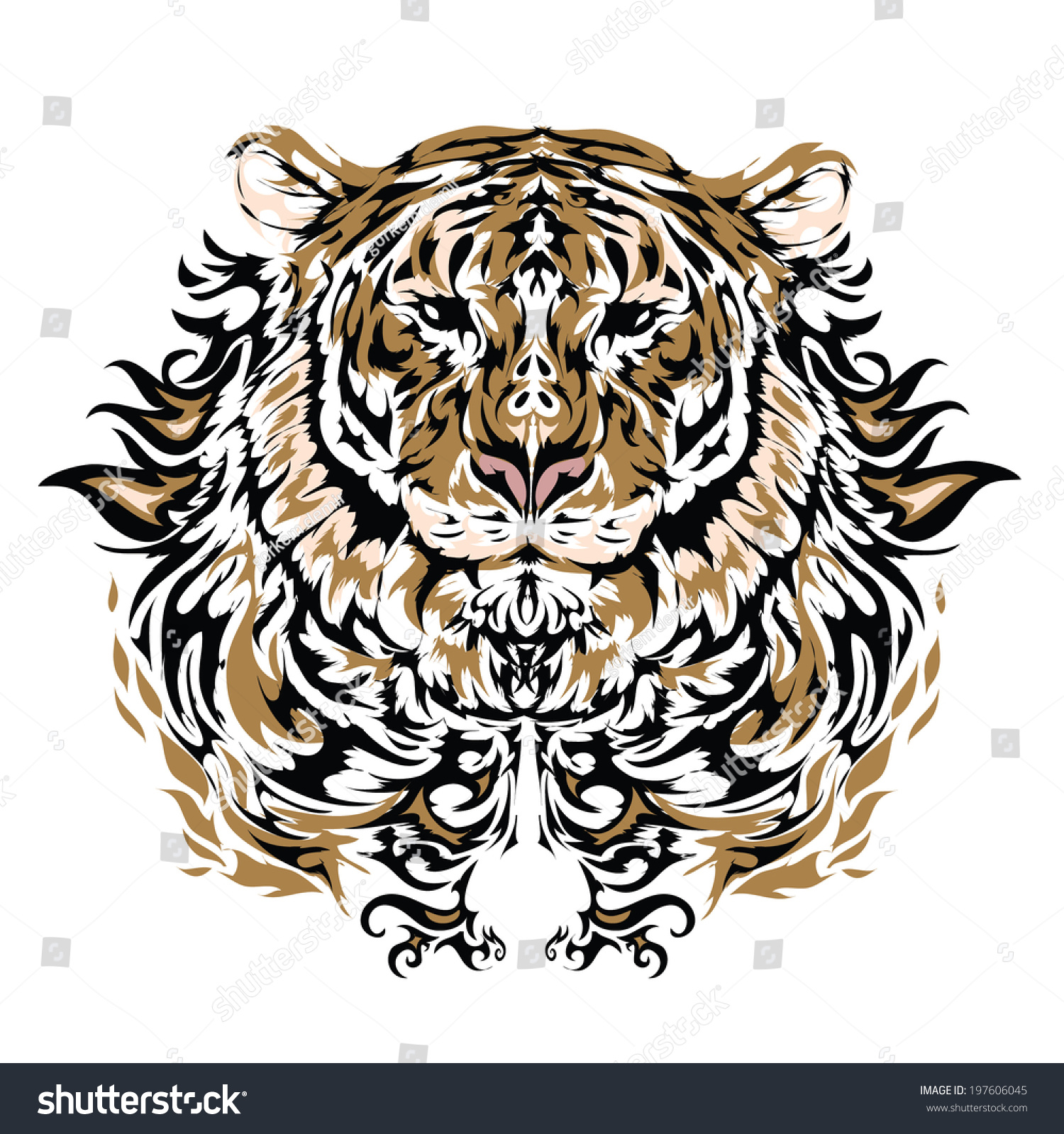 afe33be9b Tattoo Vector Sketch Tigers Face Stock Vector (Royalty Free ...