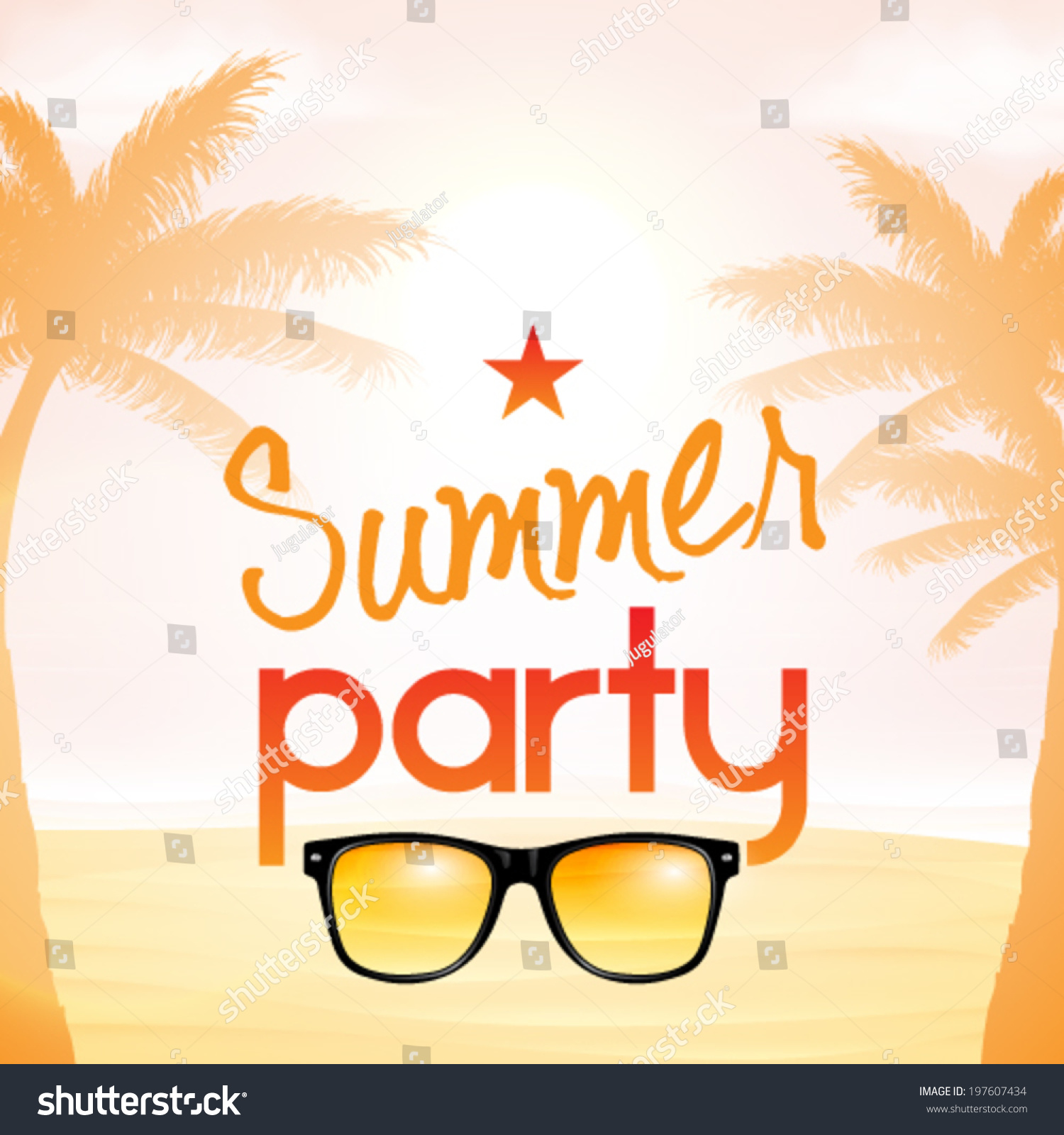Vector Summer Beach Party Invitation Design Stock Vector (Royalty ...