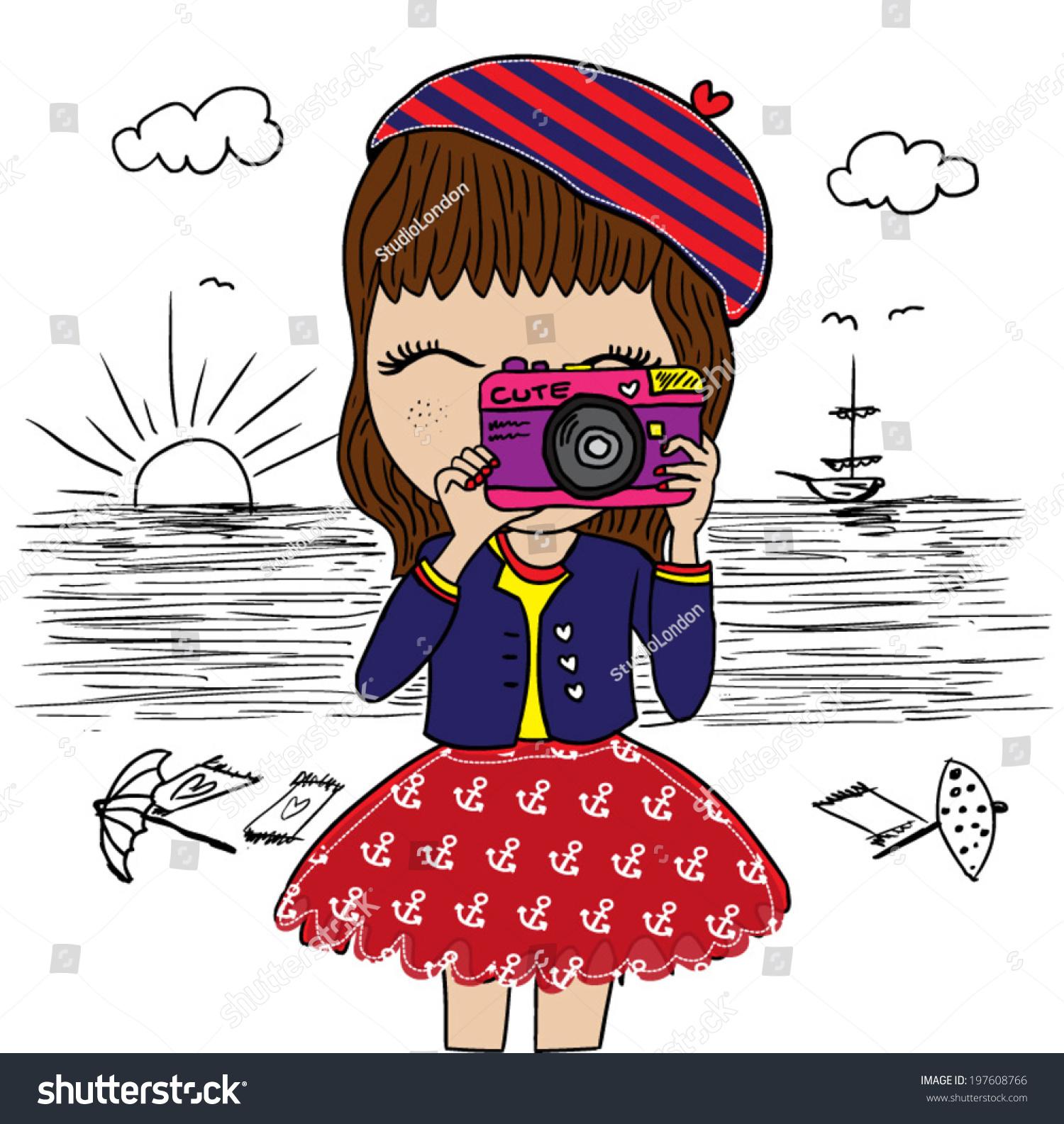 Cute Girl Marinethemed Illustration Girl Graphic Stock ...