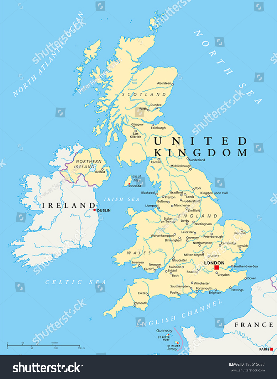 United kingdom political map capital london stock vector 197615627 united kingdom political map with capital london national borders most important cities rivers gumiabroncs Image collections