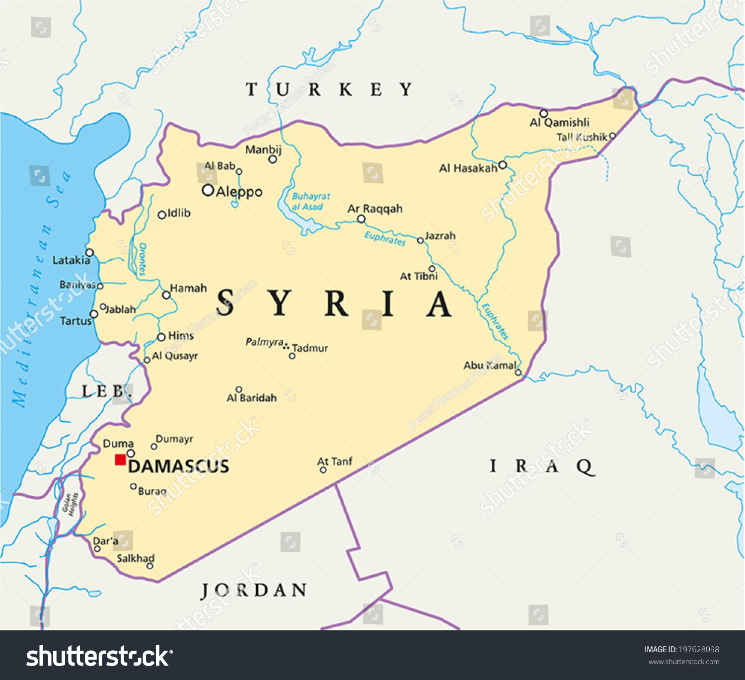 Syria political map capital damascus national stock vector 197628098 syria political map with capital damascus national borders most important cities rivers and gumiabroncs Gallery