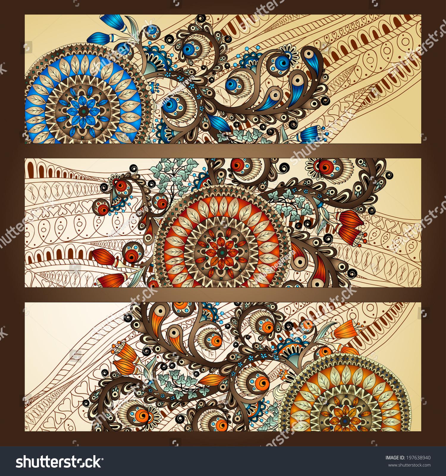 Paisley Batik Background Set Three Abstract Stock Vector