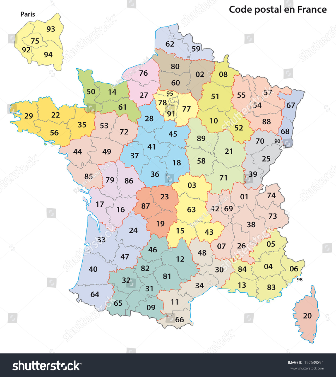 France 2digit Postcodes Map Stock Vector 197639894 - Shutterstock