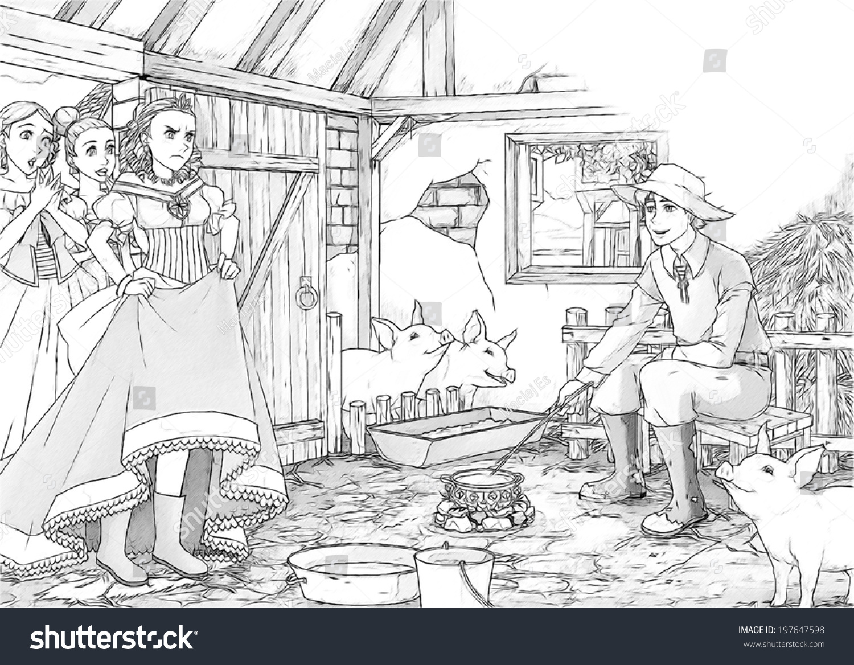 Coloring Page Cartoon Fairy Tale Illustration Stock Illustration ...