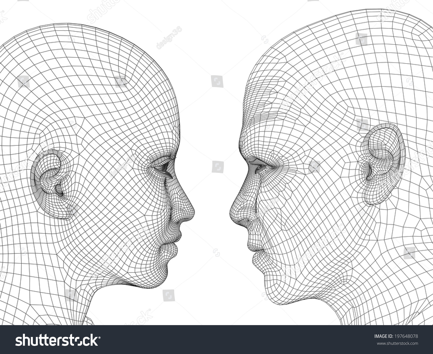 Concept Conceptual 3d Wireframe Human Male Stock Illustration 197648078
