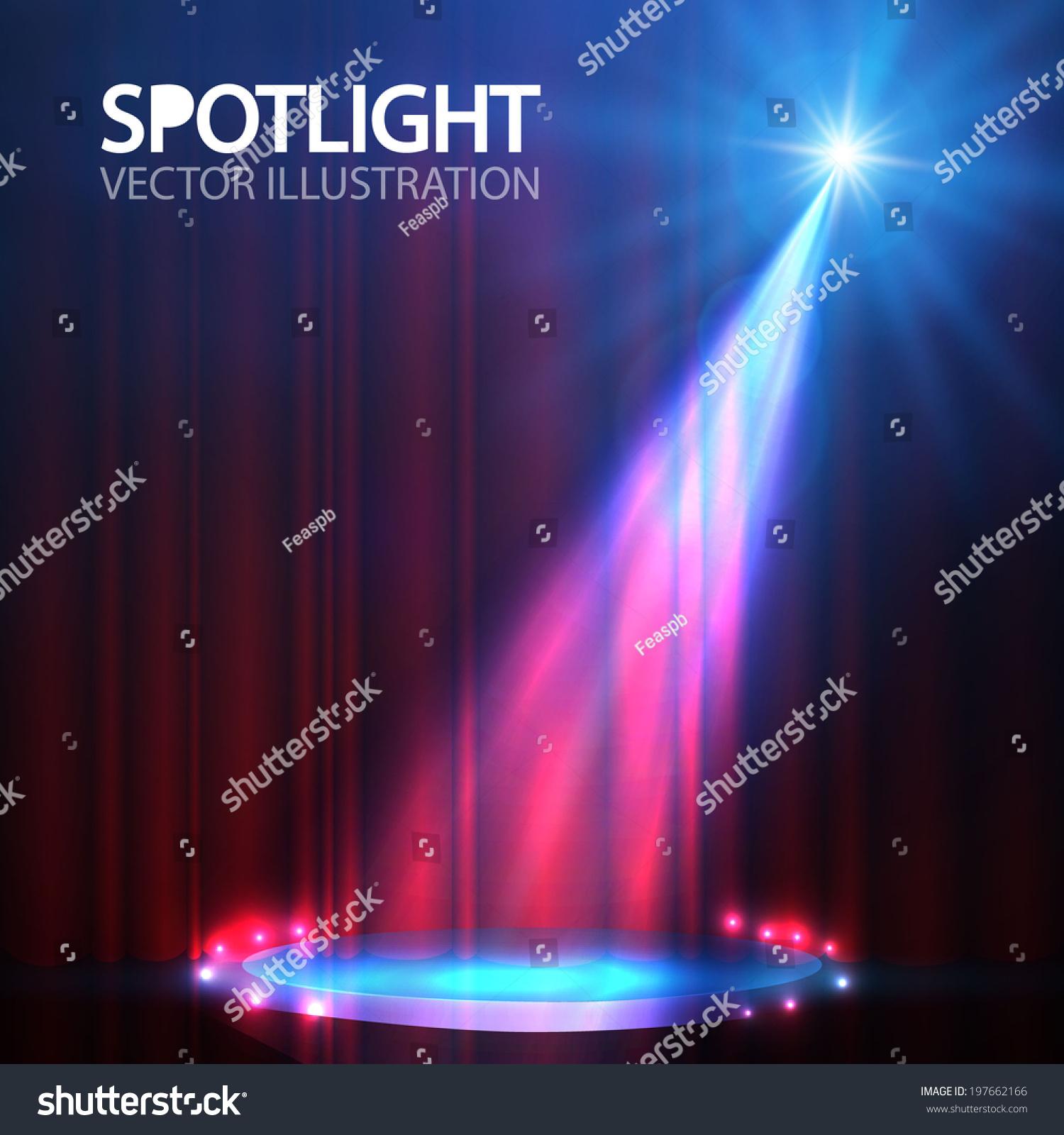 Stage curtains spotlight - Spotlight On Stage Curtain With Smoke Light Vector Illustration