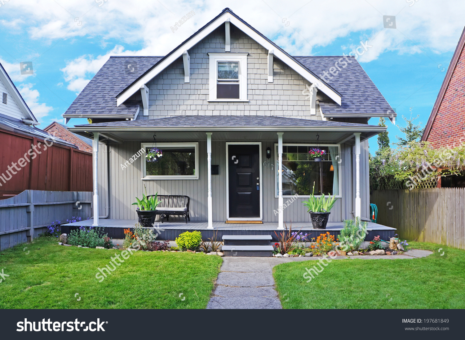 Small old house entrance porch decorated stock photo for Classic house fronts