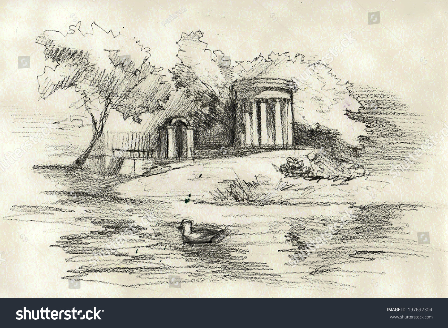 Old park vintage pencil drawing poster stock illustration 197692304