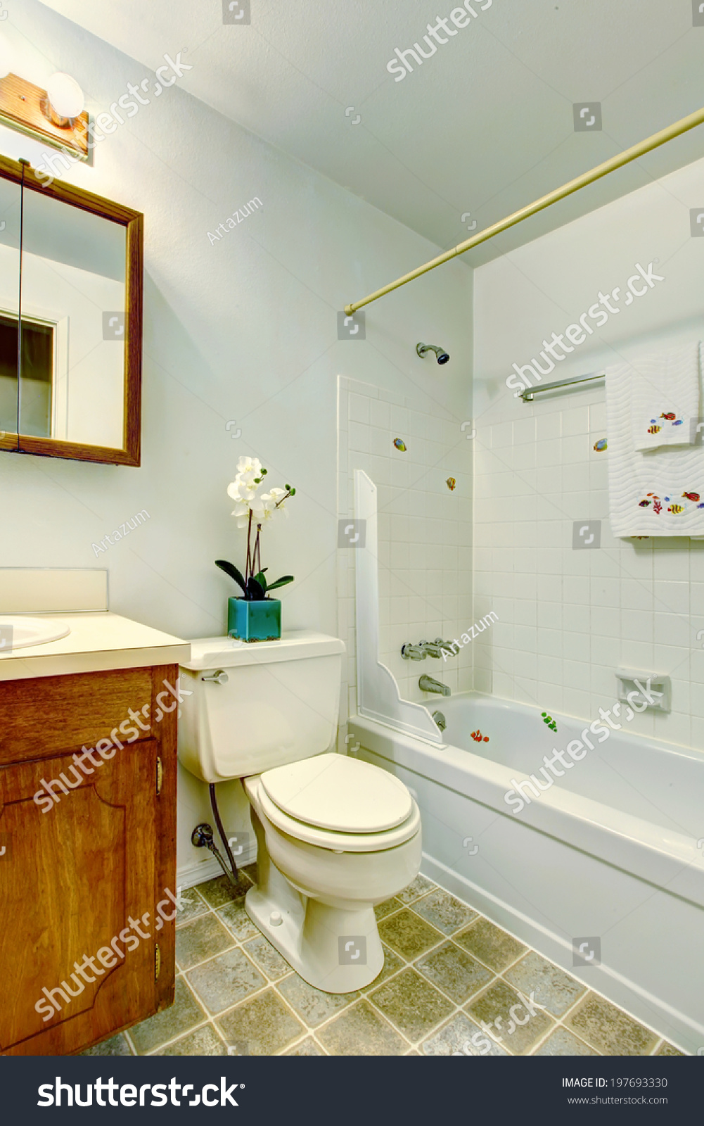 White Small Bathroom Bathroom Vanity Cabinet Stock Photo