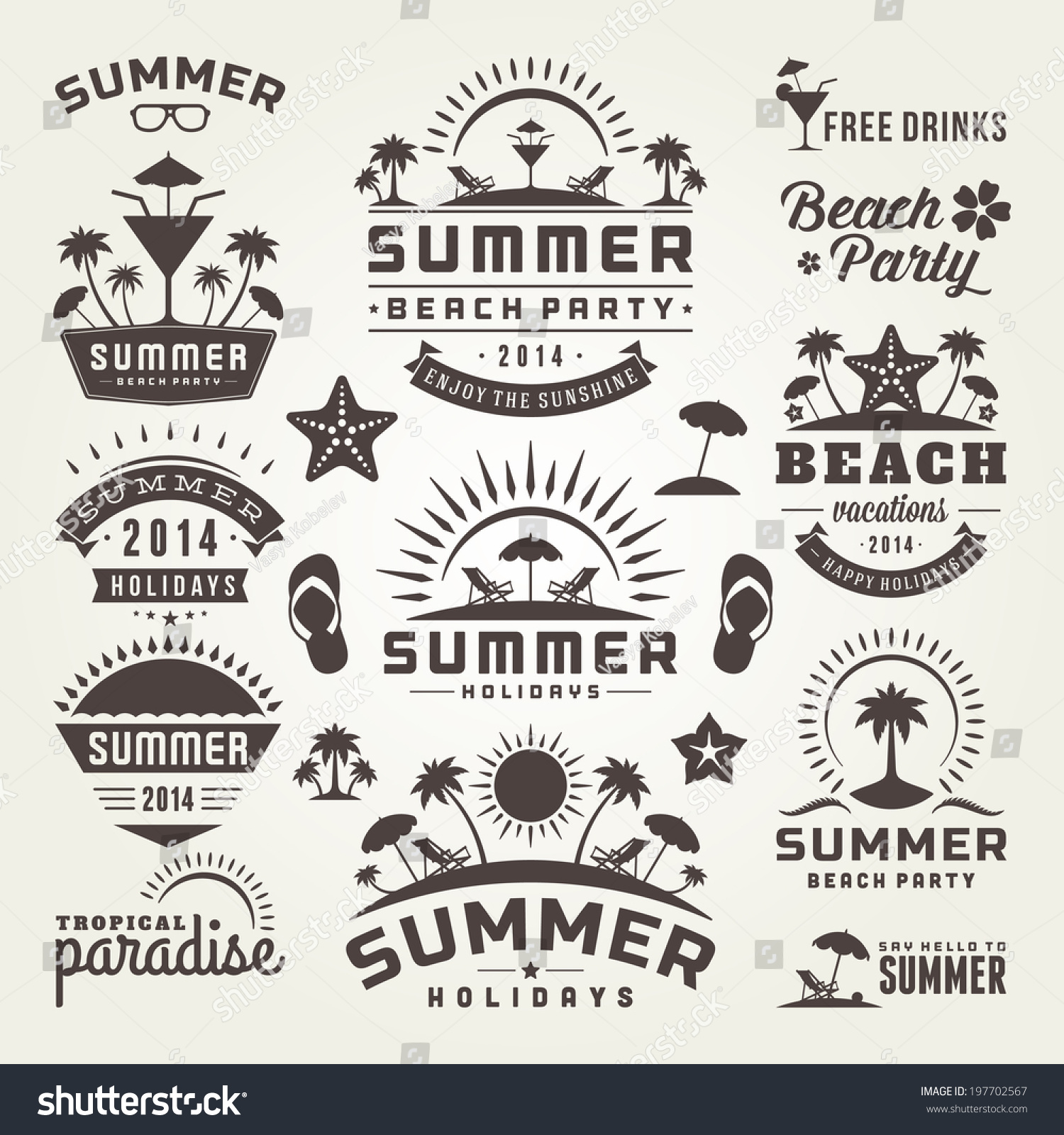 royalty free summer design elements and typography 197702567 stock