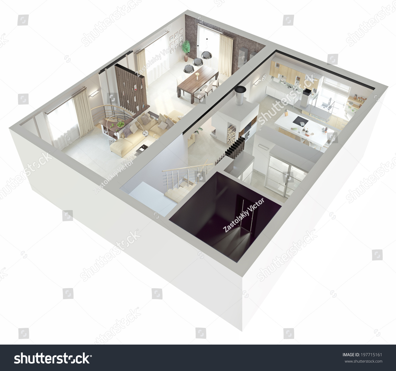 Plan View Of An ApartmentGround Floor Clear 3d Interior Design