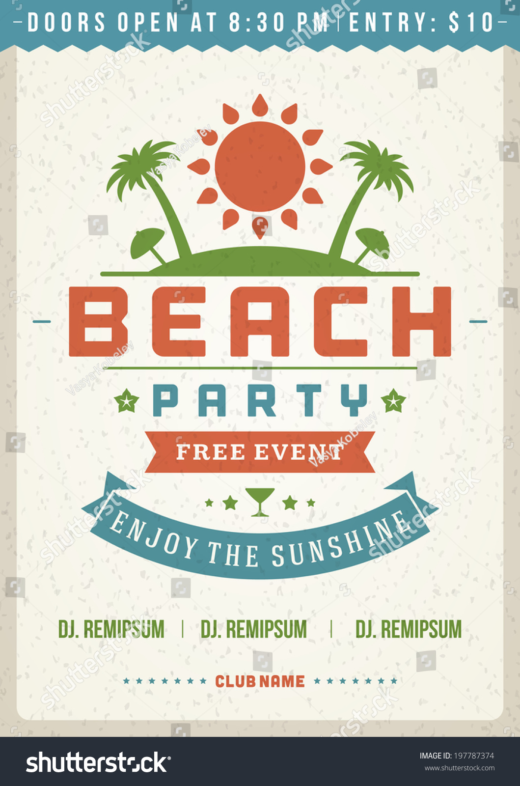 retro summer party design poster flyer のベクター画像素材