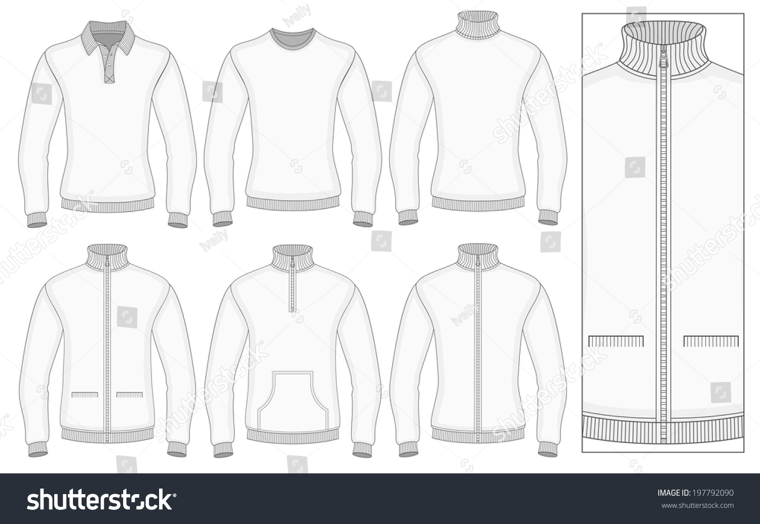 mens long sleeve clothes templates front stock vector royalty free