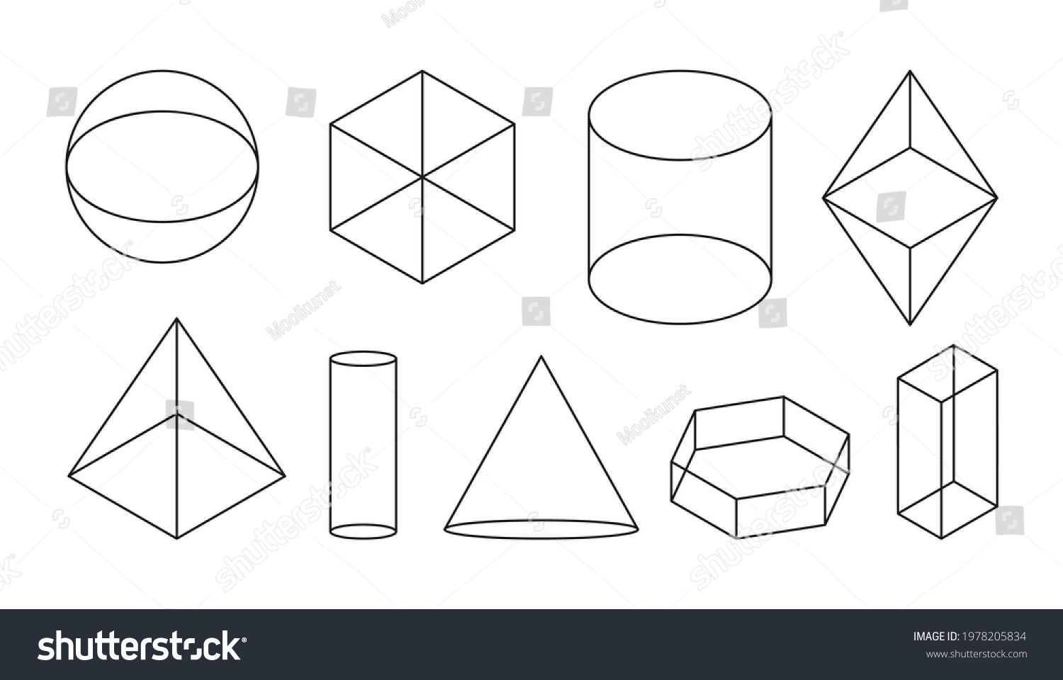 Volumetric basic geometric shapes. Black linear simple 3d figure with invisible shape lines. Isometric views sphere and cube, cylinder and cone and other forms. Isolated on white vector illustration #1978205834